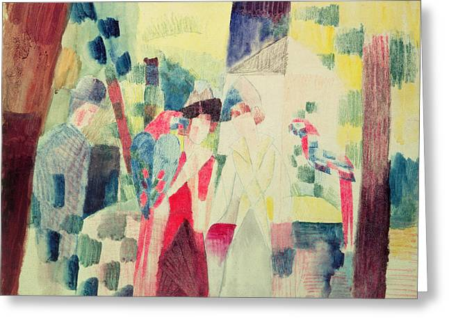 Two By Two Greeting Cards - Two Women and a Man with Parrots Greeting Card by August Macke