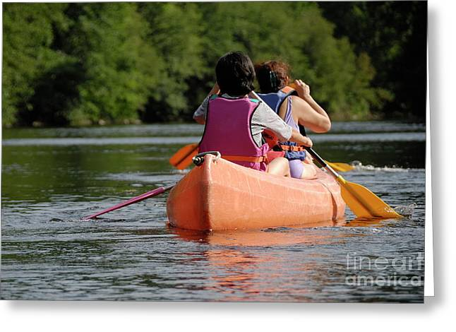 Only Mature Women Greeting Cards - Two women rowing on a canoe Greeting Card by Sami Sarkis
