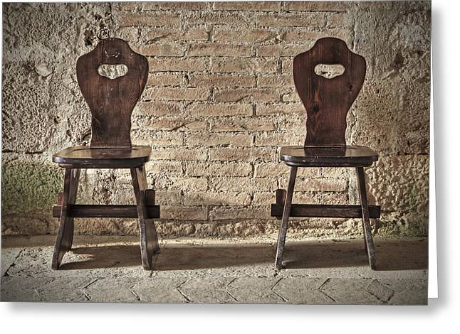 Two Wooden Chairs Greeting Card by Joana Kruse