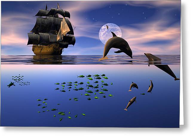 Tall Ship Greeting Cards - Two worlds Greeting Card by Claude McCoy