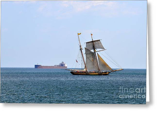 Tall Ship Pyrography Greeting Cards - Two Worlds Pass Greeting Card by Whispering Feather Gallery