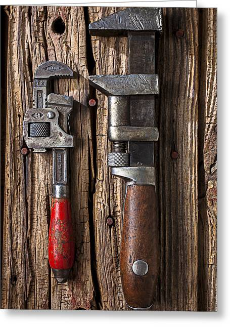 Mend Greeting Cards - Two wrenches Greeting Card by Garry Gay