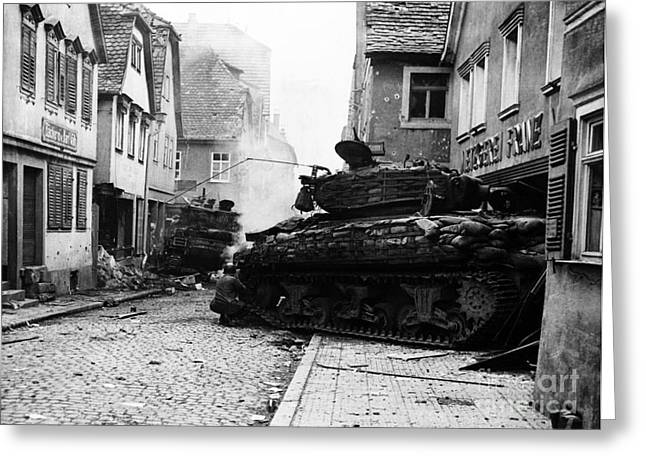 Us Army Tank Greeting Cards - Two Wwii Tanks Greeting Card by Photo Researchers