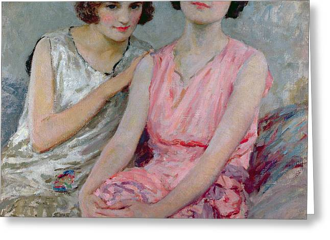 Two Young Women Seated Greeting Card by William Henry Margetson