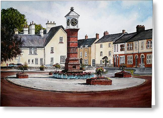 Town Square Drawings Greeting Cards - Twyn Square Usk Greeting Card by Andrew Read
