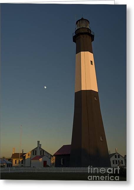 Transportation Greeting Cards - Tybee Island Lighthouse and Moon Greeting Card by Tim Mulina