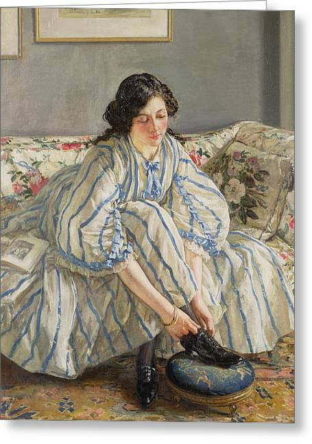 Foot Stool Greeting Cards - Tying her Shoe Greeting Card by Sir Walter Russell