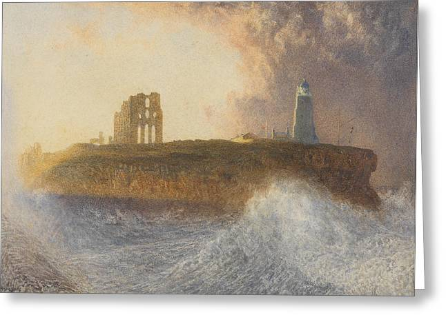 Lighthouse Tower Greeting Cards - Tynemouth Pier Greeting Card by Alfred William Hunt