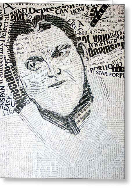 Famous Person Mixed Media Greeting Cards - Type Man Greeting Card by Lisa Stanley