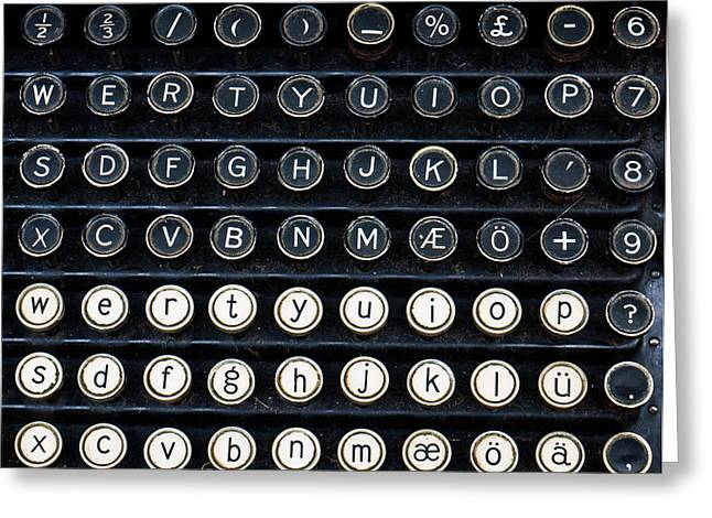 Typewriter Keys Greeting Cards - Typewriter Keyboard Greeting Card by Hakon Soreide