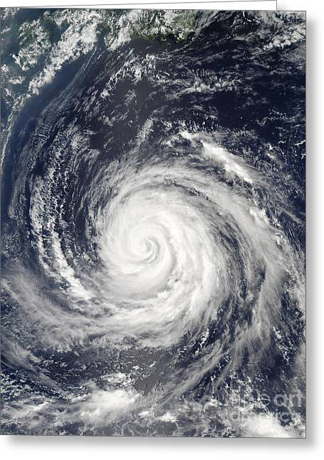 True Colors Greeting Cards - Typhoon Rusa Greeting Card by Stocktrek Images