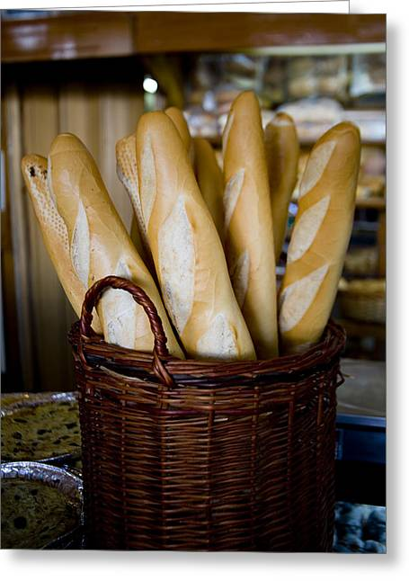 Loaf Of Bread Greeting Cards - Typical Fresh Bread At A Corner Bakery Greeting Card by Stephen St. John