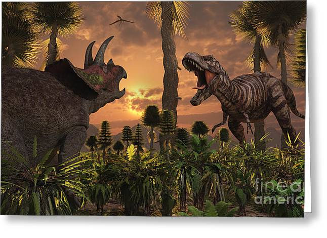 Triceratops Digital Art Greeting Cards - Tyrannosaurus Rex And Triceratops Meet Greeting Card by Mark Stevenson