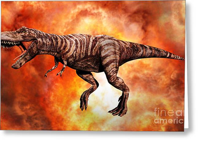 Primeval Greeting Cards - Tyrannosaurus Rex, The King Of Killer Greeting Card by Mark Stevenson