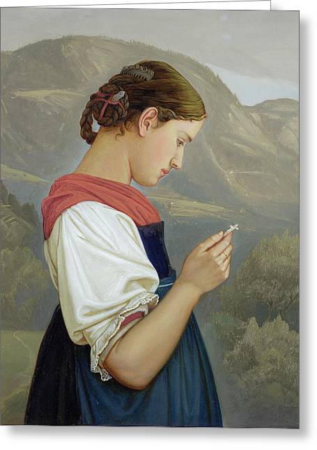 Plaits Greeting Cards - Tyrolean Girl Contemplating a Crucifix Greeting Card by Rudolph Friedrich Wasmann