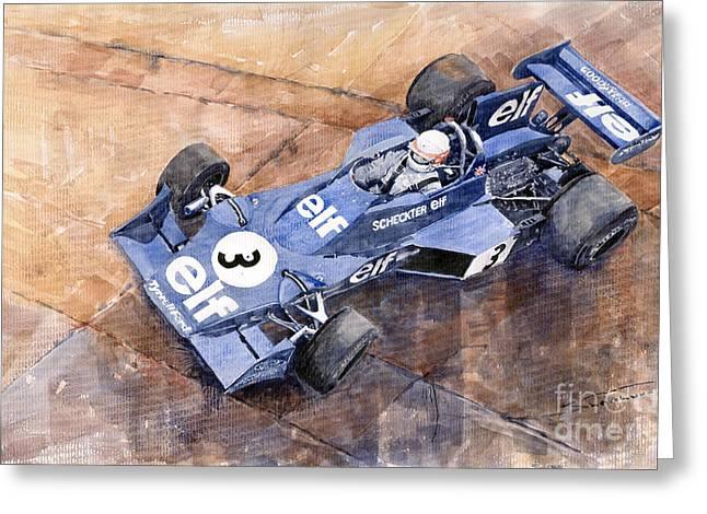 007 Greeting Cards - Tyrrell Ford 007 Jody Scheckter 1974 Swedish GP Greeting Card by Yuriy  Shevchuk