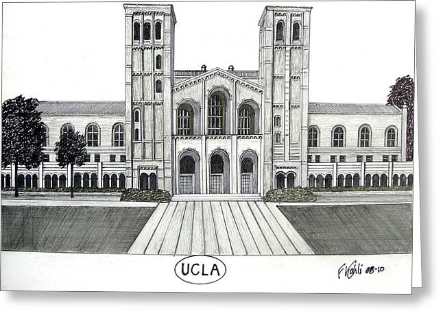 College Campus Buildings Drawings Greeting Cards - U C L A Greeting Card by Frederic Kohli