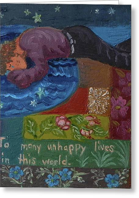 Human Tragedy Greeting Cards - U is for the Unfortunate detail from Childhood Quilt painting Greeting Card by Dawn Senior-Trask