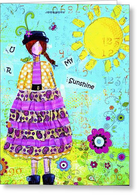 Sun Hat Mixed Media Greeting Cards - U R My Sunshine Greeting Card by Diana Cox