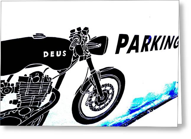 Abstract Digital Photographs Greeting Cards - Ubud Motorbike Parking  Greeting Card by Funkpix Photo Hunter