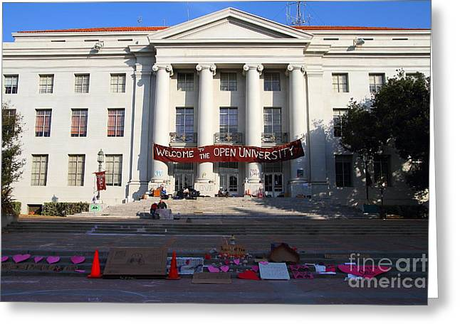 UC Berkeley . Sproul Hall . Sproul Plaza . Occupy UC Berkeley . 7D10017 Greeting Card by Wingsdomain Art and Photography