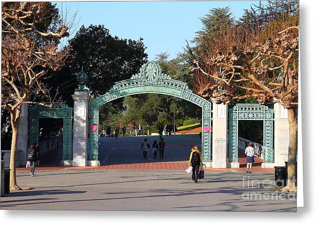 Work Area Greeting Cards - UC Berkeley . Sproul Plaza . Sather Gate . 7D10020 Greeting Card by Wingsdomain Art and Photography