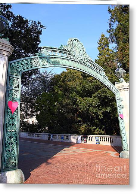 At Work Greeting Cards - UC Berkeley . Sproul Plaza . Sather Gate . 7D10037 Greeting Card by Wingsdomain Art and Photography