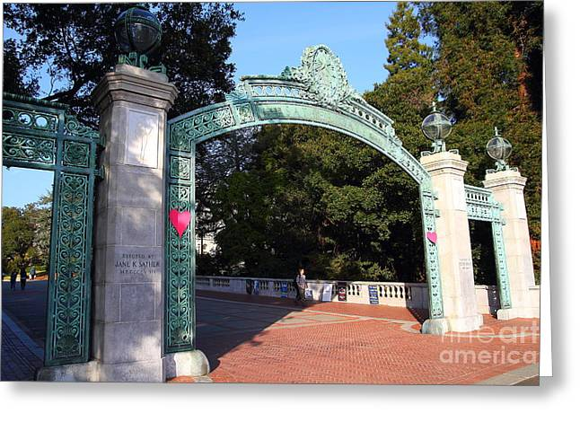 At Work Greeting Cards - UC Berkeley . Sproul Plaza . Sather Gate . 7D10039 Greeting Card by Wingsdomain Art and Photography