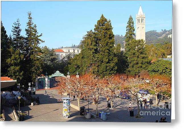 Cal Berkeley Greeting Cards - UC Berkeley . Sproul Plaza . Sather Gate and Sather Tower Campanile . 7D10000 Greeting Card by Wingsdomain Art and Photography