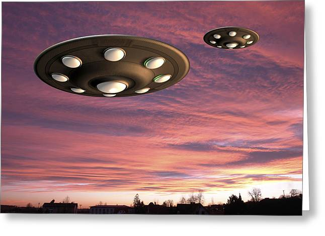 Unidentified Greeting Cards - Ufo Landing, Computer Artwork Greeting Card by Friedrich Saurer