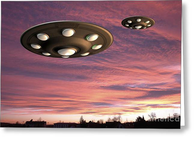 Hovering Drawings Greeting Cards - UFO Landing Greeting Card by Friedrich Saurer and Photo Researchers