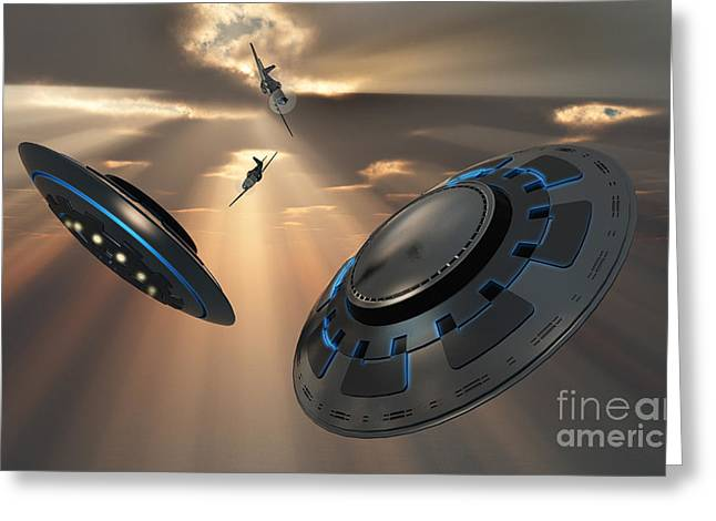 Paranormal Digital Art Greeting Cards - Ufos And Fighter Planes In The Skies Greeting Card by Mark Stevenson