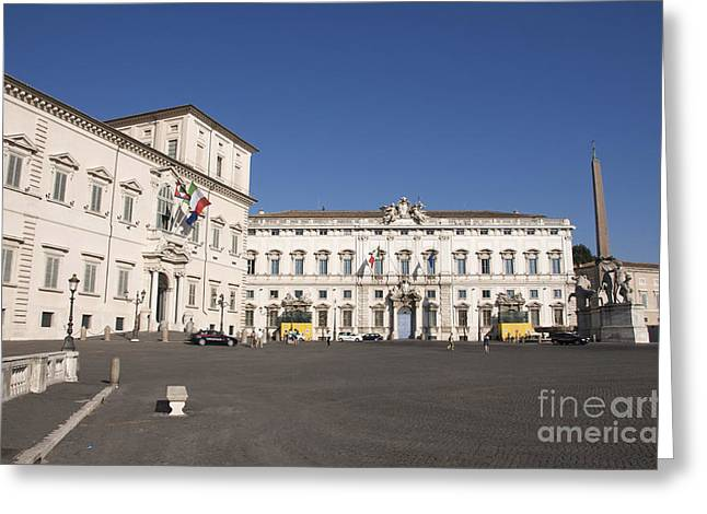 Obelisk Greeting Cards - uirinal Obelisk in front of Palazzo del Quirinale. Rome Greeting Card by Bernard Jaubert
