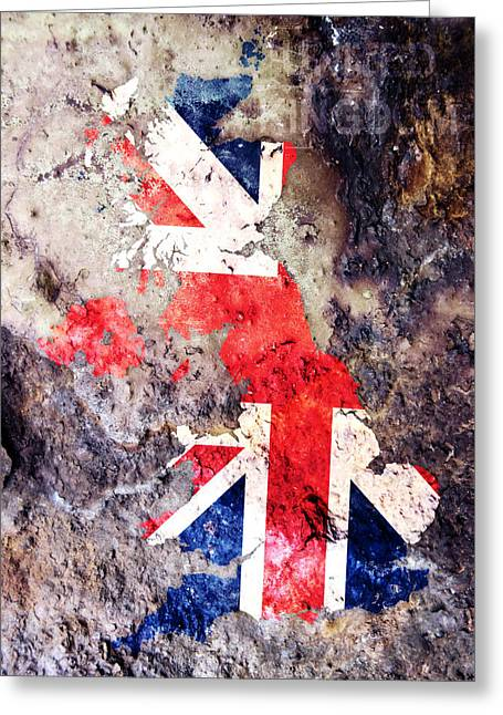 Flags Digital Art Greeting Cards - UK Flag Map Greeting Card by Michael Tompsett