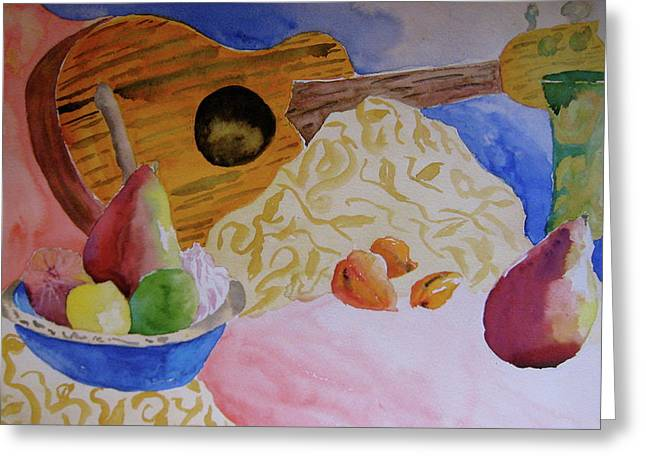 Gold Lime Green Greeting Cards - Ukelele Greeting Card by Beverley Harper Tinsley