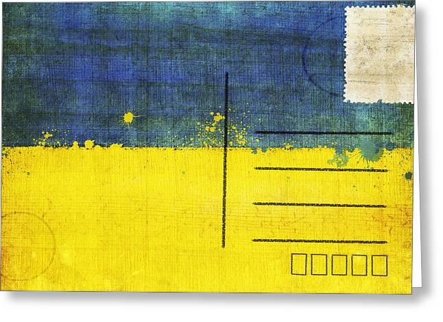 Ukraine flag postcard Greeting Card by Setsiri Silapasuwanchai