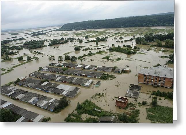 Floods Greeting Cards - Ukraine Flooding, July 2008, Aerial View Greeting Card by Ria Novosti