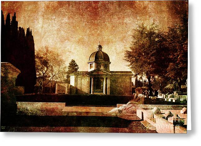 Mausoleum Greeting Cards - Ulalume in Lonesome October Greeting Card by Laura Iverson