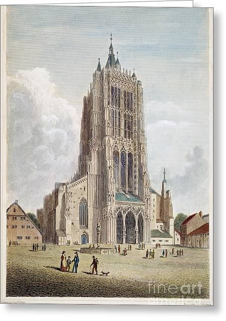 Ulm Greeting Cards - ULM CATHEDRAL, 19th C Greeting Card by Granger