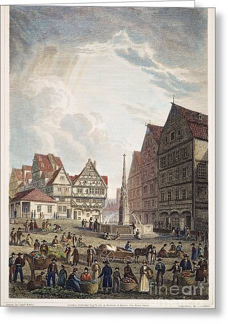 Ulm Greeting Cards - Ulm Marketplace, 1821 Greeting Card by Granger