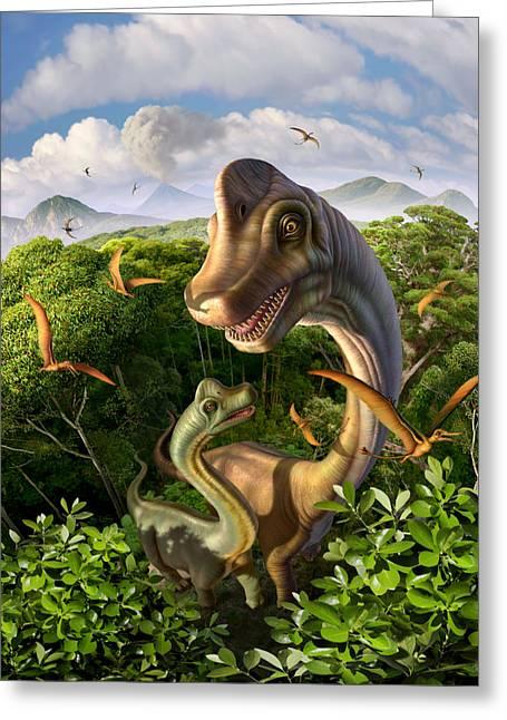 Tremendous Greeting Cards - Ultrasaurus Greeting Card by Jerry LoFaro