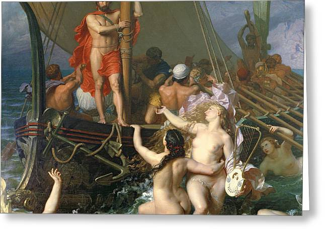 Ulysses and the Sirens Greeting Card by Leon Auguste Adolphe Belly