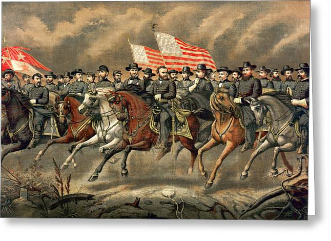 American Politician Greeting Cards - Ulysses S Grant and his generals on horseback Greeting Card by International  Images