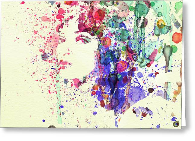 Film Watercolor Greeting Cards - Uma Thurman Greeting Card by Naxart Studio