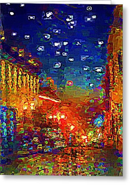 Umaran Street Greeting Cards - Umaran Street At Dusk Vg Greeting Card by John  Kolenberg