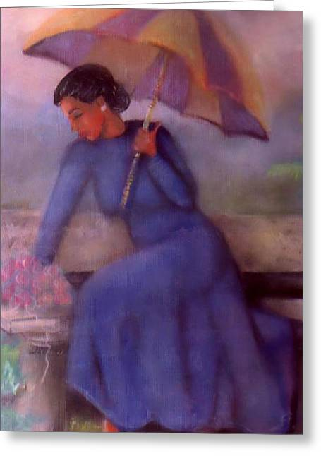 African American History Mixed Media Greeting Cards - Umbrella Love1 Greeting Card by Janie McGee