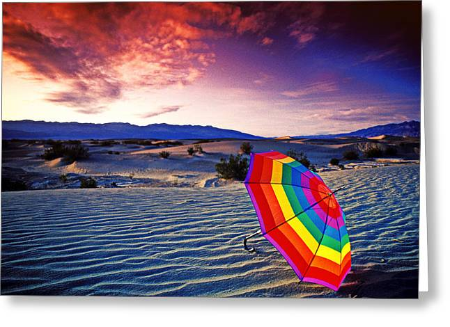 Umbrellas Photographs Greeting Cards - Umbrella on desert sands Greeting Card by Garry Gay