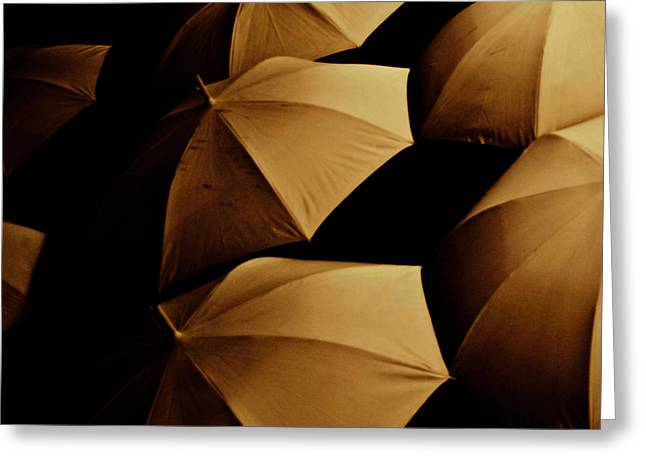 Umbrellas Greeting Cards - Umbrellas I Greeting Card by Grebo Gray