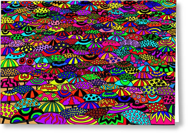 Karen Elzinga Mixed Media Greeting Cards - Umbrellas Greeting Card by Karen Elzinga