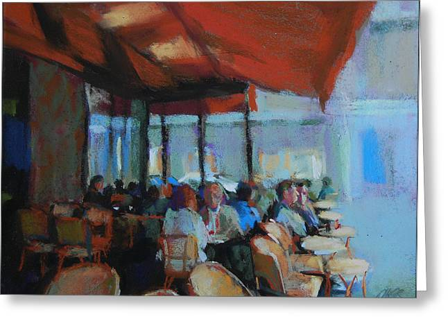 Cafe Pastels Greeting Cards - Un Cafe e Paris Greeting Card by Margaret Dyer